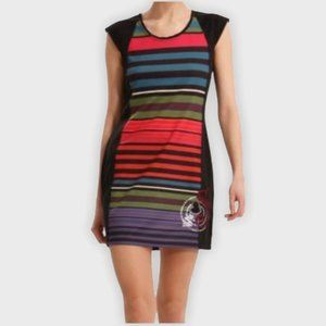 Desigual mini dress. Black, rainbow  stripes